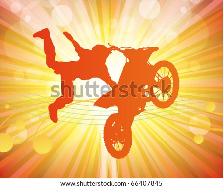 motocross poster - rider on the motorcycle - stock vector