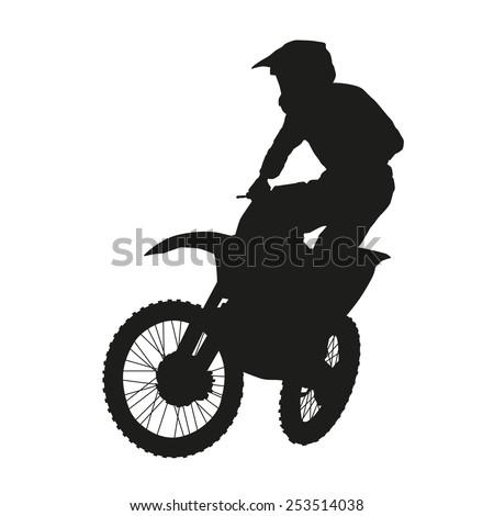Motocross rider. Moto vector silhouette - stock vector