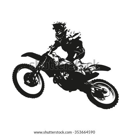 Motocross. Vector silhouette of a motorcycle racer - stock vector