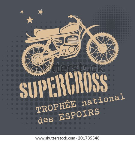 Motocross vintage background, vector illustration - stock vector