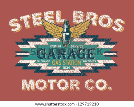 Motor company vintage sign - Artwork for boy wear - Custom colors - distressed effect in separate layer - stock vector
