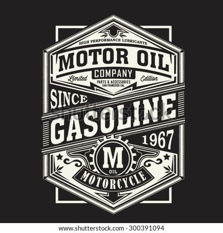 Motor gasoline typography, t-shirt graphics, vectors - stock vector