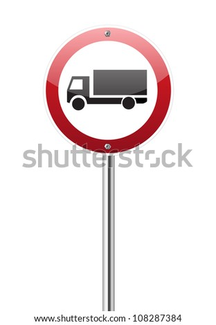 Motor lorry traffic sign on white
