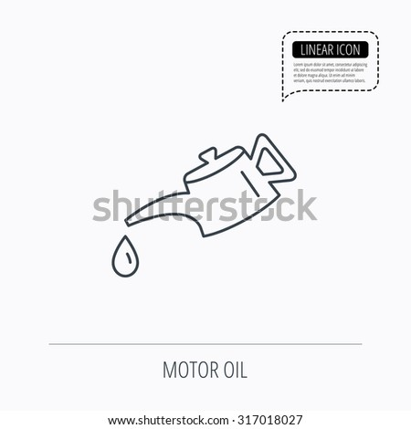 Motor oil icon. Fuel can with drop sign. Linear outline icon. Speech bubble of dotted line. Vector