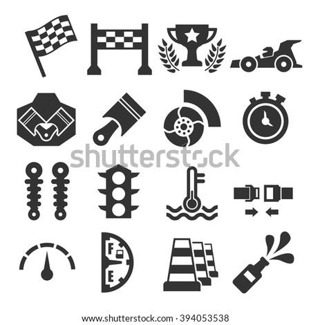 motor race icon set - stock vector