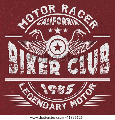 Motor Racer, Biker Club, Legendary Motor, California, print design, handmade vector illustration for apparel, for t-shirt or other uses in vector. T shirt Graphic, vintage tee graphic design