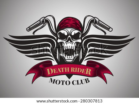 Motor racing skullsgraphic design logo sticker label arm