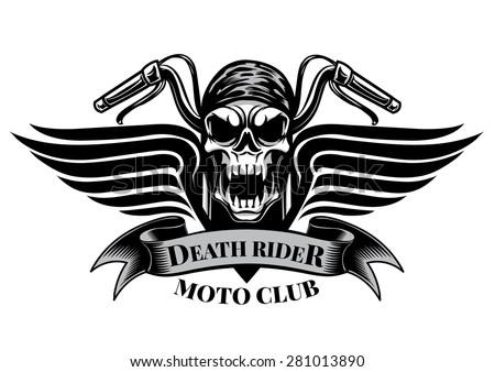 Motor racing skulls,graphic design. logo, Sticker, label, arm  - stock vector