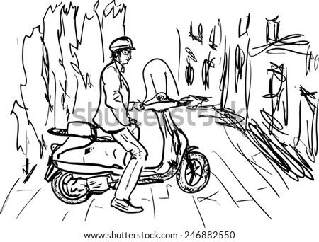 motor scooter - stock vector
