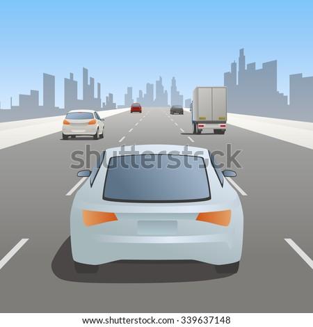 motor vehicles driving on urban highway - stock vector