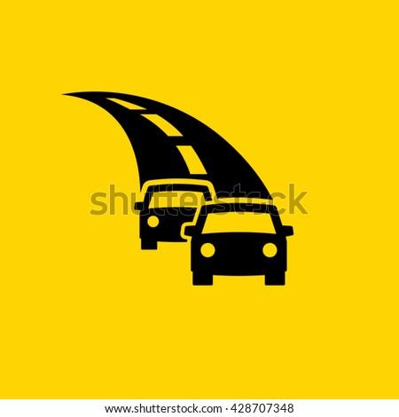 Motor vehicles on highway  - stock vector