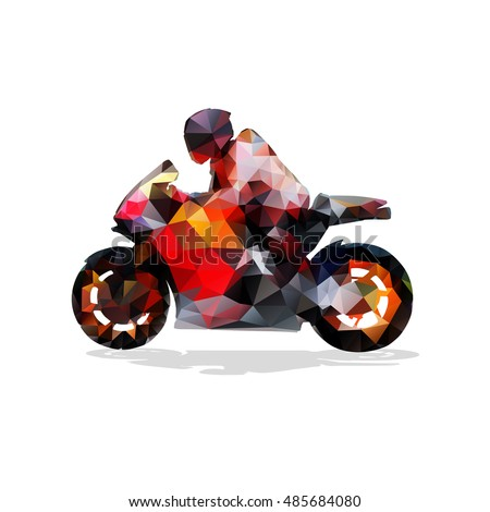 Motorbike, Abstract Geometric Vector Silhouette. Motorcycle Rider On Road  Bike