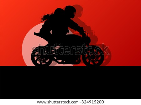Motorbike driving racing motorcycle vector background freedom concept - stock vector