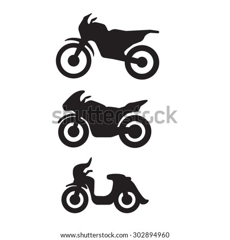 motorbike motorcycle symbols in black silhouette - stock vector