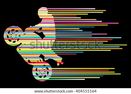 Motorbike rider stunt motorcycle driver vector background concept made of stripes - stock vector