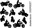 Motorbike Silhouettes - stock vector
