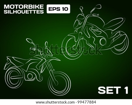 Motorbike Silhouettes Set 1 - stock vector