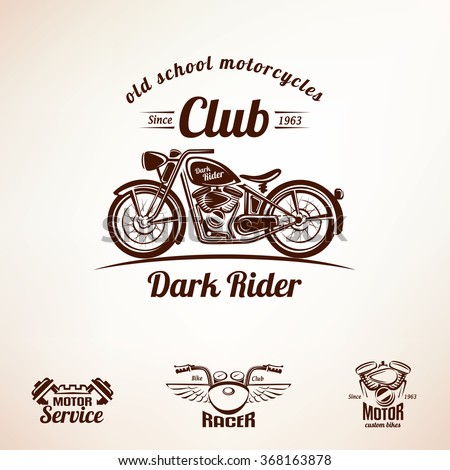motorbikes emblems and labels set, retro motorcycle - stock vector