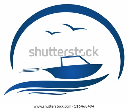 motorboat and nature - stock vector
