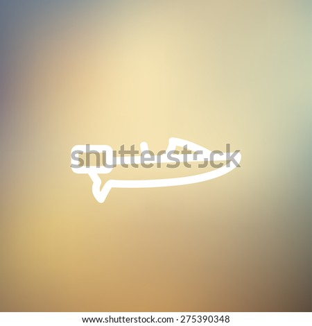 Motorboat icon thin line for web and mobile, modern minimalistic flat design. Vector white icon on gradient mesh background. - stock vector