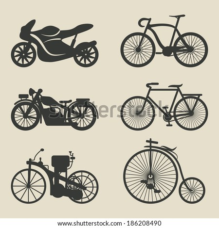 motorcycle and bicycle icons - vector illustration. eps 8 - stock vector