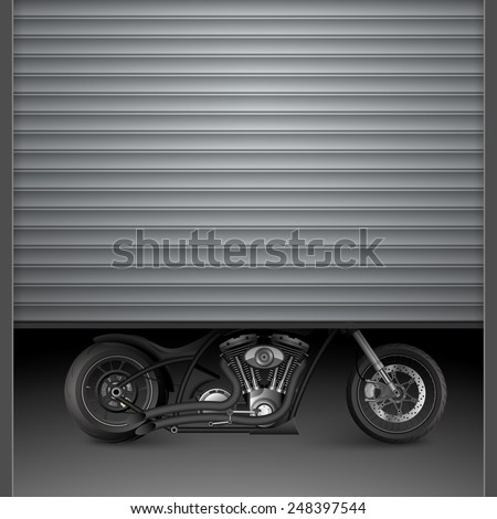 Motorcycle behind garage door.vector - stock vector