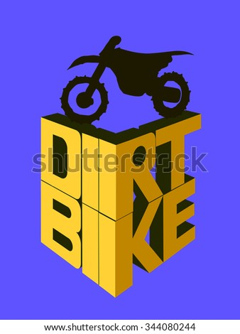 Motorcycle 3d logo, dirt bike words. Racing Background, vector illustration - stock vector