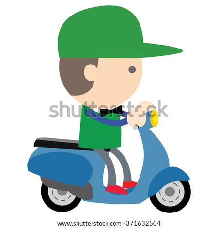 motorcycle delivery  man scooter vector