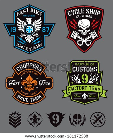 Motorcycle emblem set - stock vector