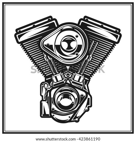 Stock Vector Motorcycle Engine on V Twin Motorcycle Engine Diagram