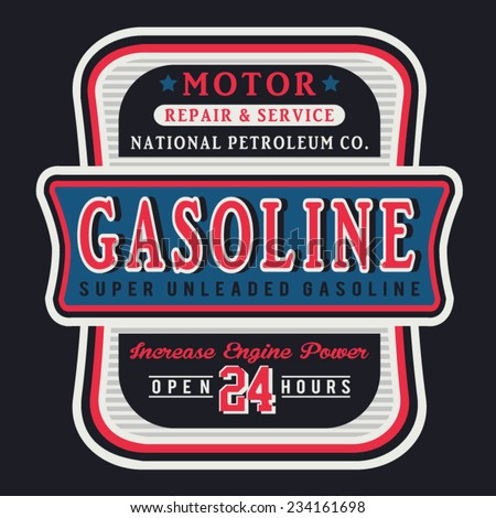 Motorcycle gasoline typography, t-shirt graphics, vectors - stock vector