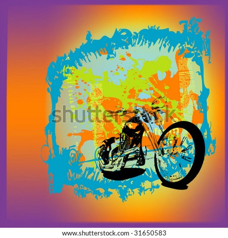 motorcycle grunge background illustration - stock vector
