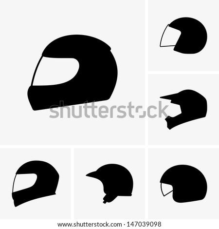 Motorcycle helmets - stock vector