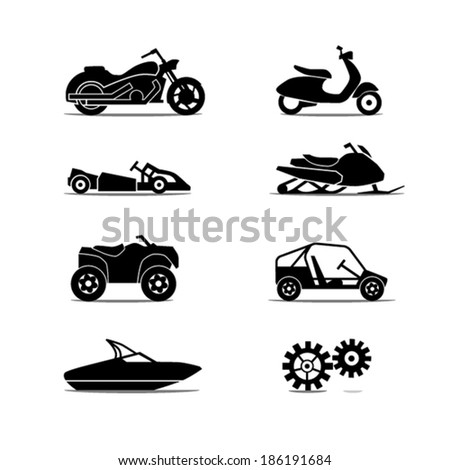 Motorcycle Icon Set - stock vector