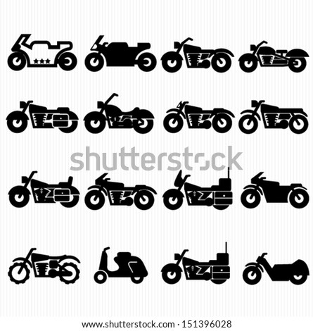 Motorcycle icons - stock vector