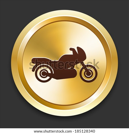 Motorcycle Icons on Gold Button Collection