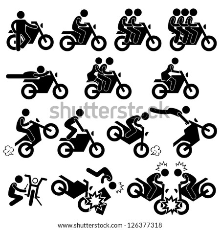 Motorcycle Motorbike Motor Bike Stunt Man Daredevil People Stick Figure Pictogram Icon - stock vector
