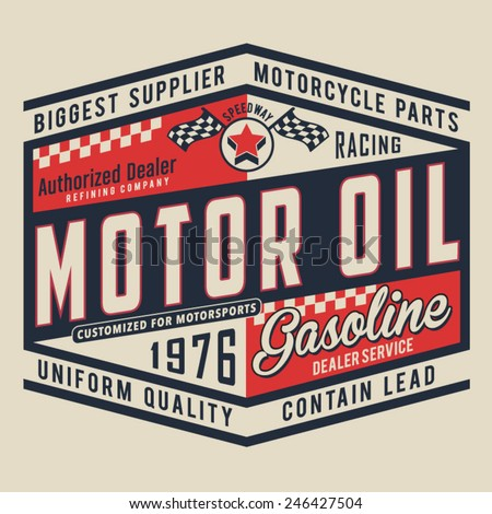 Motorcycle oil typography, t-shirt graphics, vectors - stock vector