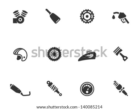 Motorcycle parts icons in single color - stock vector