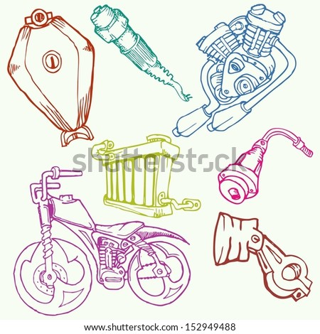 motorcycle parts in set, isolated - stock vector