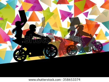 Motorcycle performance extreme stunt driver man and woman in abstract sport landscape background illustration vector - stock vector