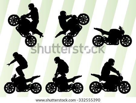 Motorcycle performance extreme stunt driver man set - stock vector