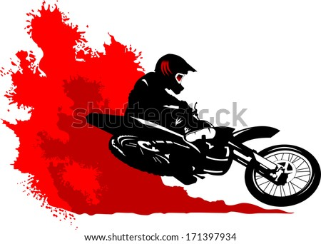 motorcycle racer commits high jump, vector, illustration - stock vector