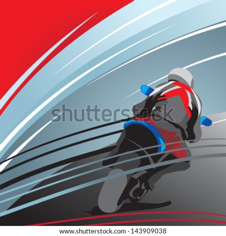 motorcycle racer, rear view - stock vector