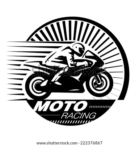 Motorcycle racer. Vector illustration in the engraving style