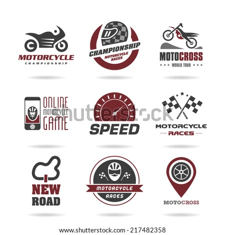 Motorcycle racing icon set - 3 - stock vector