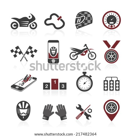 Motorcycle racing icon set - stock vector