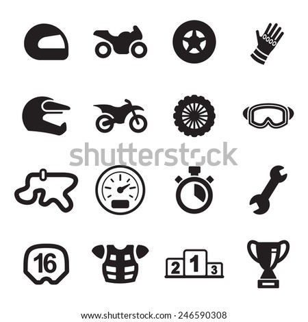 Motorcycle Racing Icons - stock vector
