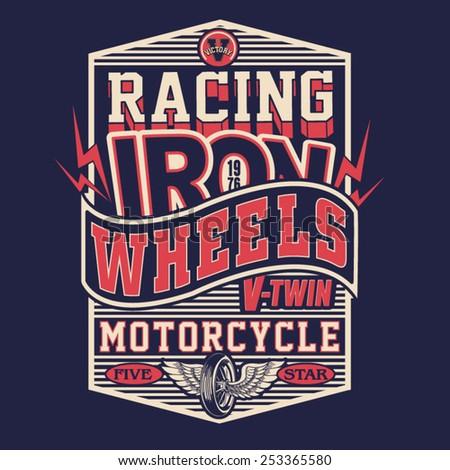 Motorcycle racing typography, t-shirt graphics, vectors - stock vector