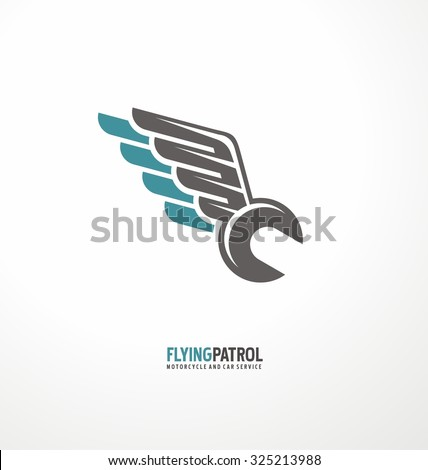 Motorcycle service and repair symbol template. Wrench tool with wings creative logo design layout. Garage icon concept. Transportation theme. Help on the road. - stock vector